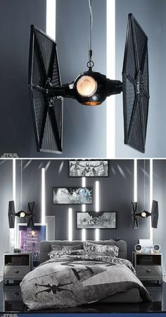 Awesome TIE Fighter pendant. Designed to look like the Imperial Starfighter, this collector's item is the one-of-a-kind accent for anyStar Wars fan's room. Also the perfect gift idea for geeks. #ad #starwars #tiefighter #lamp #pendant #roomdecor #homedecor #geek #giftidea