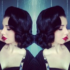 Vintage Hairstyles For Prom When your roller set turns out perfect Miss Victory Violet Roller Set Hairstyles, Retro Hairstyles, Wedding Hairstyles, Natural Hairstyles, Violet Black Hair, Medium Hair Styles, Short Hair Styles, Short Retro Hair, Pinup Hair Short