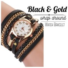 """🆕 Wrap Around Watch Bracelet Black & Gold wrap around wrist bracelet. Easy to read, beautiful accessory to dress up or down. The bracelet has 3 snap buttons on the end, so it can be worn tight or loose. The back of the watch is stainless steel. Watch is not yet activated and has lock still attached.Not waterproof.  Woman's Watch. Measures:  Watch bracelet: 22"""" Watch Face Approx: 4cm  ▪️NWT 🚫No Trades   Happy Poshing ❣ Accessories Watches"""
