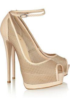 GIUSEPPE ZANOTTI  Mesh and lizard-effect leather sandals