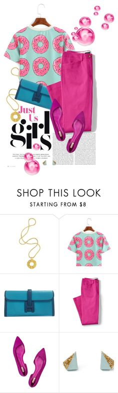 """""""Just a Girl"""" by dawn-scott ❤ liked on Polyvore featuring Lara Bohinc, Oris, Hermès, Lands' End, Schutz, Wolf & Moon and thepluslife"""