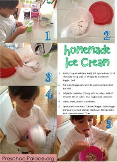 Homemade icecream in a bag.  Science for preschoolers.