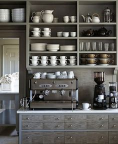 Open shelving in a home coffee bar. This would help really make the coffee bar feel like a distinctly different area of the kitchen. Could also work well in a butlers pantry / coffee bar area. Cocina Martha Stewart, Küchen Design, Home Design, Design Ideas, Design Inspiration, Design Room, Graphic Design, Grey Kitchens, Home Kitchens