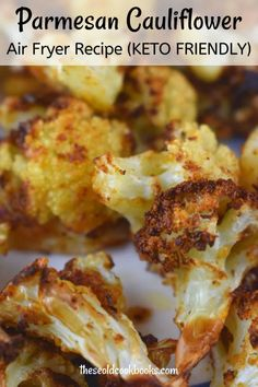 Air Fryer Recipes Low Carb, Air Fryer Dinner Recipes, Air Fryer Recipes For Vegetables, Air Fried Vegetable Recipes, Recipes Dinner, Dessert Recipes, Parmesan Cauliflower, Healthy Cauliflower Recipes, Cooking Cauliflower