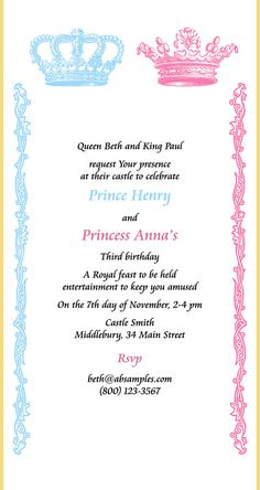 Royal twins birthday party invitation scroll prince and princess royal twins birthday party invitation scroll prince by snoringmoon filmwisefo