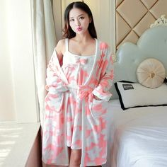 Thickening Flannel Winter Robe Sexy Robes for Women Bathrobe Dressing Gowns for Women Bathrobes Young Girl Sling 2 Pcs Robe Bath Robes For Women, Night Suit, Korean Girl, Flannel, Underwear, Cold Shoulder Dress, Dressing, Pajamas, Bikini