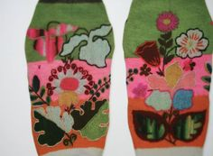 Estonian hand knitted, embroidered stockings, late 19thC. I completely love these