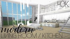 Roblox Welcome To Bloxburg Modern Living Room Kitchen Living Room Kitchen, Living Room Sets, Living Room Modern, Home Living Room, Living Room Decor, Dining Room, Small Living, Up House, House Rooms