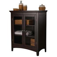 Double Door Espresso Dark Brown Towel Linen Storage Floor Cabinet Bathroom