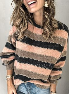 New Year Round Neckline Stripe Casual Loose Regular Shift Sweaters Image Mode, Vogue Knitting, Long Sleeve Sweater, Latest Fashion For Women, Neue Trends, Types Of Sleeves, Cable Knit, Pullover Sweaters, Dame