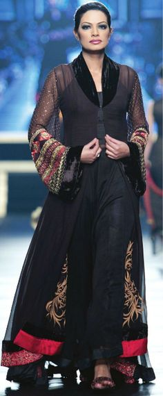 Pakistani fashion ~ fits wonderfully under a black non-transparent chiffon shawl covering past bosom n back modestly.