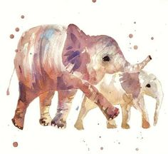 momma and baby elephant, watercolor
