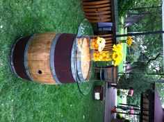 Wine Barrel Cocktail Table with Glass Top