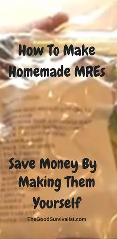 In this post you will learn all about MRE's such as why you should make them, things to consider when making MRE's, what's in a typical MRE, plus a whole lot more. http://www.thegoodsurvivalist.com/how-to-make-homemade-mres-save-money-by-making-them-yourself/