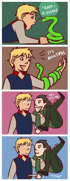"""""""So I went to pick up the snake, to admire it, and he transformed back into himself and he was like 'Bleh, it's me!' and he stabbed me."""" *Loki smirks in the background*"""
