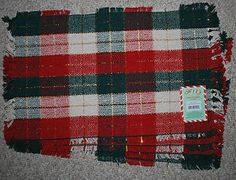 Set of 4 Cotton Woven Placemats Christmas Plaid Holiday Red Green ...