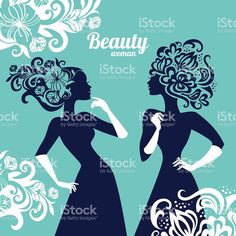 Beautiful women silhouette with flowers royalty-free stock vector art
