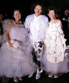 'Terence Koh at his Whitney Museum opening. With his sister and mother, wearing my fog' dress and 'butterfly migration' dress.