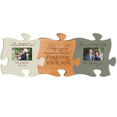 Personalized Puzzle Piece Wedding Plaque and Photo Frame Collage - Today A Groom... Best Day Ever and Forever Be In My Heart