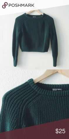 "SALE‼️American Apparel forest green crop sweater 100%cotton basic sweater from AA. Forest green. Good condition. Size M, runs short. (Tight fits for M) chest 18.5"", length 17"". 🐻offer welcome or bundle to save more 🚫no trade American Apparel Sweaters Crew & Scoop Necks"