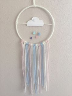 Traumfänger Wolke von Peaceful-Dreams auf DaWanda.com Paint Chip Mobile, Diy For Kids, Crafts For Kids, Fun Crafts, Diy And Crafts, Beautiful Dream Catchers, Baby Zimmer, Before Baby, Textiles
