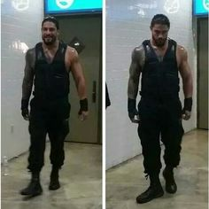 Backstage before the match. 9/15/14. Roman Reigns ❤ liked on Polyvore featuring wwe