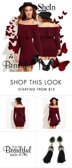 """Burgundy Dress"" by sanela1209 ❤ liked on Polyvore featuring Giuseppe Zanotti"