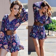 Bohemian printed mini dress long sleeve plunge ALL OF MY ITEMS ARE BRAND NEW IN A SEALED UNOPENED BAG. I SHIP DAILY I OFFER 30% DISCOUNTS ON BUNDLES!!! I I Dresses Mini