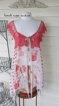 French Sugar Parisian Up-cycled Romantic Lace and Fabric Vest - Altered Couture
