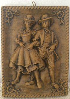 Springerle cookie mold: wax, German Bavarian couple dressed in traditional clothing