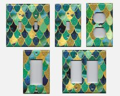 These handmade mermaid scales glitter light switch plates and outlet covers are a unique touch to any mermaid theme bathroom decor, girls bedroom or nursery, or beach cottage decor. Perfect for apartments since they can be installed and removed easily.  Check them out in my Etsy shop! #mermaid #girlsbedroom #bathroomdecor #bathroom #roomremodel #beachhouse #mermaids