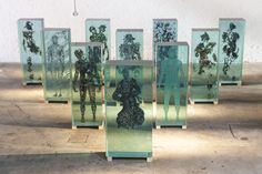 Brooklyn-based contemporary artist Dustin Yellin uses magazine clippings to form human-like shapes.