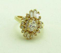 Avon Marquise Ring Rhinestones Gold Metal Designer Size 7 Signed Baguettes 970 #Avon #Statement