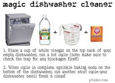 dishwasher cleaner - place a cup of white vinegar on the top rack of empty dishwasher. run a hot cycle, when cycle is complete sprinkle baking soda on the bottom of the dishwasher, run another short cycle. and you're done