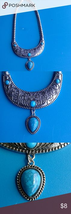 Necklace Silver with blue turquoise looking stones. Worn a few times. Time for something different. Jewelry Necklaces