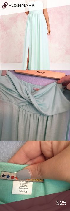 Sea foam green jersey strapless maxi NWOT maxi dress with front slit. Hits the floor and I am 5'11 but can be hemmed for a shorter girl. No rips or stains ALLOY Dresses Maxi