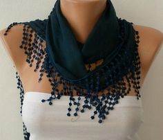 WAS 15 NOW USD 990    Green Scarf Cotton Scarf by fatwoman on Etsy, $9.90