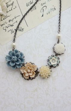 Dusty Blue, Latte Brown, Ivory, White, Antiqued Brass Flower Bib Necklace By Marolsha. https://www.etsy.com/listing/92037693/dusty-blue-latte-brown-ivory-white