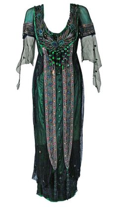 ephemeral-elegance: Peacock Embroidered Tea Gown, 1912 A.H....
