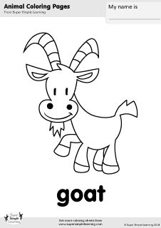 Free Goat Coloring Page From Super Simple Learning Tons Of Farm Animal Worksheets And Flashcards At Supersimplelearning Resource Room