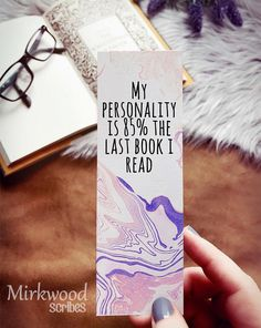 Purple Watercolor Bookmark, My Personality is the Last Book I Read, Bookish Gift for Readers - My Etsy Shop - Bookmarks For Books, Creative Bookmarks, Diy Bookmarks, Bookmark Craft, Bookmark Ideas, Homemade Bookmarks, Watercolor Bookmarks, Book Markers, Gifts For Readers