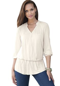 Surplice Poet Blouse Ivory,12 Plus Size in Winter 2012 from Jessica London