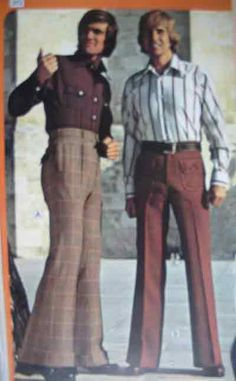 """Men's Fashion: High-Waist Trousers, Bell Bottoms, Floral Print Shirts, Polka Dots - These were the """"In"""" stuff of the time! 80s Men's Fashion Trends, 80s Fashion Men, Disco Fashion, Fashion History, Vintage Fashion, Fashion Outfits, 1960s Fashion Hippie, Overalls Fashion, 70s Hippie"""