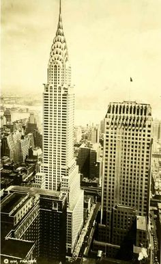 NY Architecture Images- Chrysler&Chanin Building/Built in 1927-29 for Irwin S. Chanin, one of the most notable developers in the city./56-storey, 207.5 m /Art Deco bld.is typically set back from the limestone base. The top of the buff-brick tower sports elegant buttressing decor that is enhanced by illumination at night. The corners of the unornamented tower have protruding fins. At the lower end of the building, bas-reliefs of terra-cotta depicting animals and leaf themes run the whole…