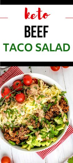 If you are on a low carb diet, you need this Keto Beef Taco Salad Recipe in your life!  I make it with beef, but you can use ground turkey too. With a delicious dressing that is SO EASY to make, this is perfect for meal prep.  #kickingcarbs #keto #ketomealprep #lchf #tacosalad #salad #ketosalad Beef Taco Salad Recipe, Low Carb Taco Salad, Low Calorie Salad, Taco Salad Recipes, Healthy Salad Recipes, Lunch Recipes, Dinner Recipes, Keto Recipes, Low Carb Summer Recipes