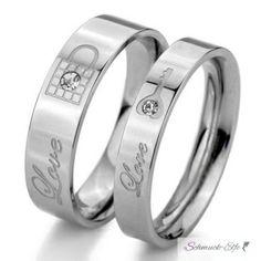 SET Eheringe / Partner Ringe  316 L Edelstahl Love...