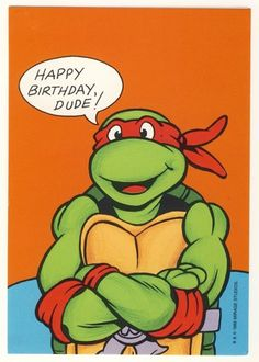 This is a vintage Teenage Mutant Ninja Turtles birthday greeting card featuring art by Mirage Studios alumni artists Steve Lavigne and Ryan Brown.
