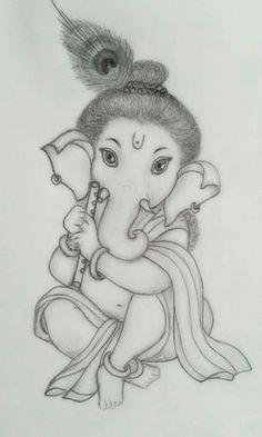 Ganesha Art Stock Photos And Images Abiding Suggestions Ganesh Art Images Ganesha Sketch, Ganesha Drawing, Lord Ganesha Paintings, Ganesha Art, Ganpati Drawing, Krishna Painting, Girl Drawing Sketches, Art Drawings Sketches Simple, Cute Drawings