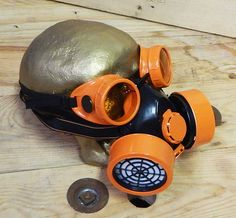 STEAMPUNK HALLOWEEN MASK - 2 pc Black & Orange Double Filter Respirator Steampunk Gas Mask and Matching Steampunk Goggles by jadedminx on Etsy