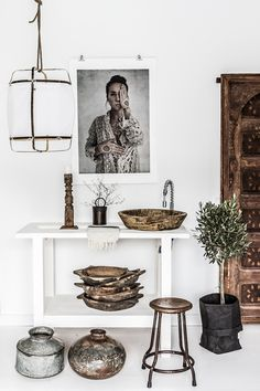 Sink on a white console table